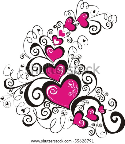 beautiful heart with floral ornament, Element for design, vector image