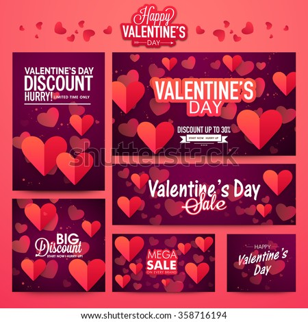 Shutterstock Beautiful hearts decorated Sale Banner set for Happy Valentine's Day celebration.