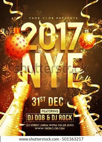 Beautiful holiday background with 3D golden text 2017 NYE (New Year Eve), hanging xmas balls, champagne bottle and snowflakes. Creative template, banner, flyer or invitation design.