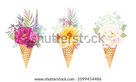 Stock Photo Beautiful holiday collection with delicate bouquet of colorful roses, branches and leaves in waffle cone ice cream, vector floral illustration. Invite template on white background for your design.