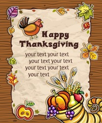 Beautiful Holiday paper arrangement with the space for your own text on the wooden background. Horn of Plenty, pumpkin, apple, autumn leaves, grapes, apple, pear.