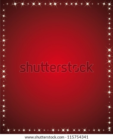 Beautiful holidays background. Red and starry vector frame for greeting card or holidays communication.