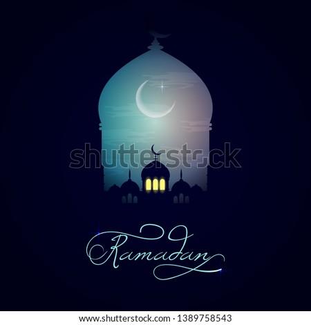 Beautiful holy festival eid and ramadan background. Mosque silhouette in night sky and abstract light for ramadan of Islam. Ramadan kareem greeting card with mosques. Moon in night sky and mosque