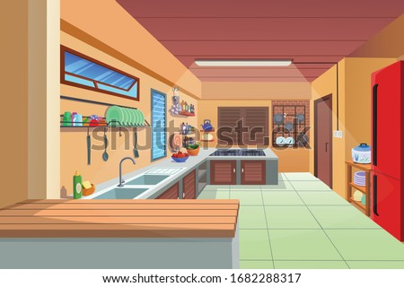 Beautiful home kitchen with household goods.