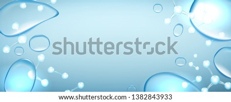 Beautiful, horizontal, blue,background with realistic water splash and molecules for advertising banners and cosmetics advertisements with copy space