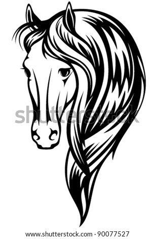 beautiful horse vector illustration - black and white head and long mane outline