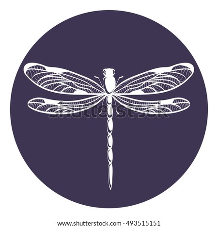 beautiful icon dragonfly vector