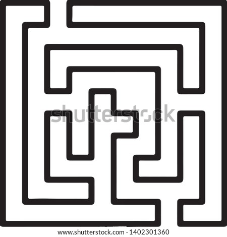 beautiful icon labyrinthe vector in black and white illustration