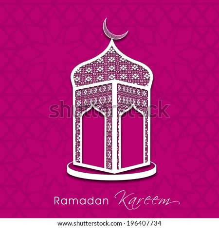 Beautiful illustration of a mosque on abstract pink background for holy month of muslim community Ramadan Kareem