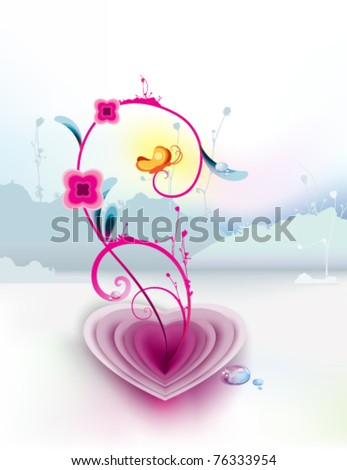 beautiful illustration of pink flower and yellow butterfly emerging from an open heart against cold background : vector of spring  symbol