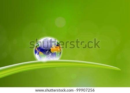 beautiful illustration of planet Earth dew drop