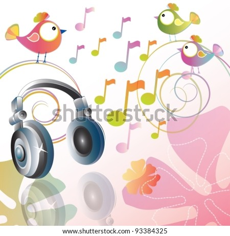 Beautiful illustration with headphones and cartoon birds, vector