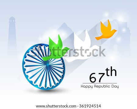 Beautiful indian flag color themed illustration for for 26 january decoration