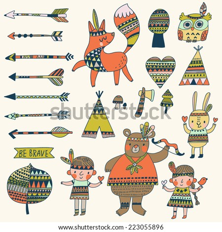 Beautiful indian set in vector Stylish bright concept elements children bear arrows fox wigwam rabbit owl and others