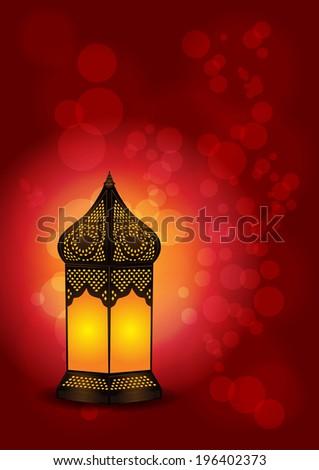 Beautiful Islamic Lamp for Eid / Ramadan Celebrations - Vector Illustration #196402373