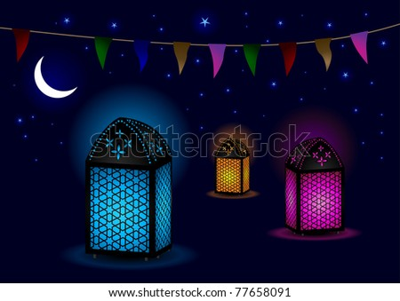 Beautiful Islamic Lamps with Crescent and Stars - Vector Illustration