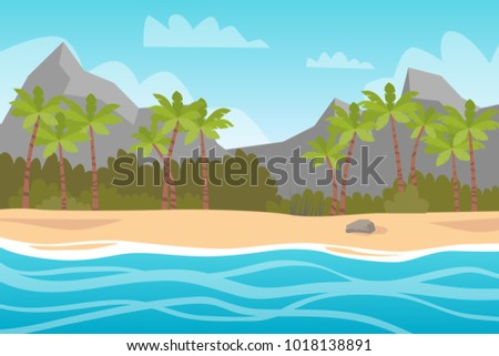 Beautiful island with palm trees, sun and blue water with waves.