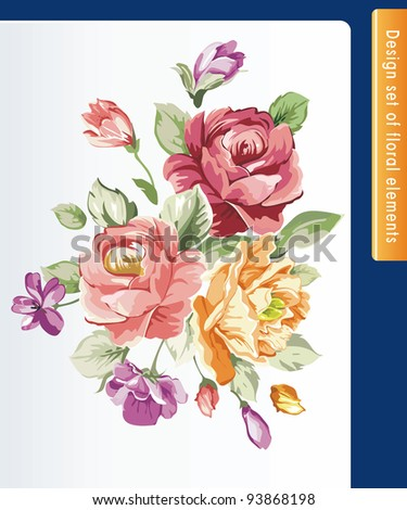 Beautiful isolated flowers on the white background. Color design elements.