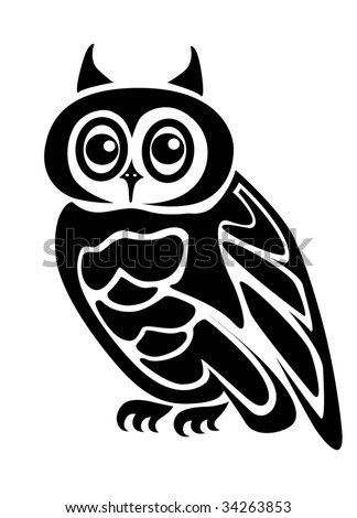Beautiful Isolated Owl On Background As A Symbol ...