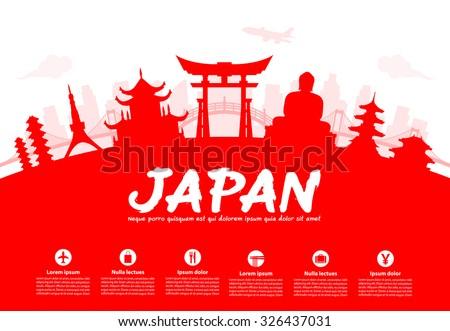 Beautiful Japan Travel Landmarks. Vector and Illustration.