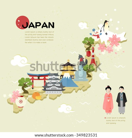 beautiful japan travel map in
