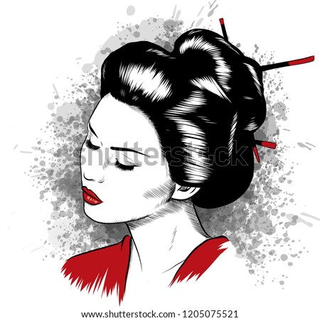 stock-vector-beautiful-japanese-geisha-holds-red-fan-vector-illustration
