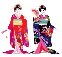 Beautiful japanese girls in kimono. Vector illustration set.