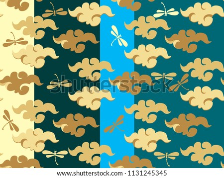 Beautiful japanese seamless  pattern with clouds, waves. Japanese, chinese elements. Vector seamless asian texture.For printing on packaging, textiles, paper, fabric, web, manufacturing, wallpapers.