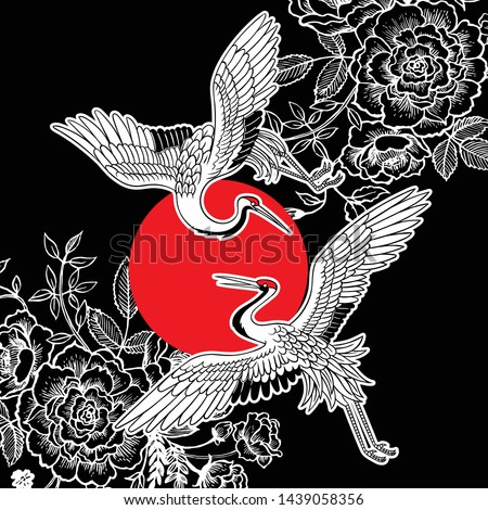 Beautiful Japanese white cranes. Vector illustration made in Asian style and aesthetics. Chinoiserie style.  #1439058356