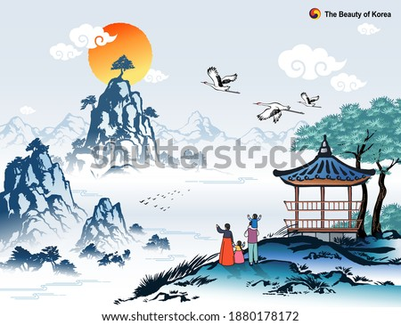 Beautiful Korea, new year sunrise and natural scenery, family wearing traditional hanbok, Korean traditional painting vector illustration.
