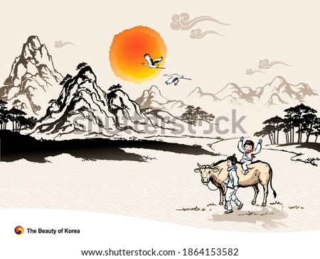 Beautiful Korea, New Year sunrise and natural scenery, people and cows in traditional costume, Korean traditional painting vector illustration.