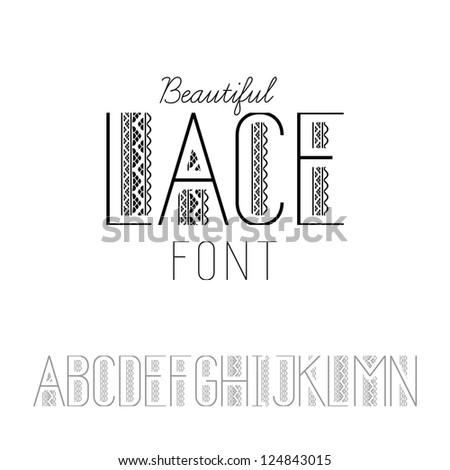 Beautiful lace font set A-N (vector version)
