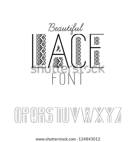Beautiful lace font set O-Z (vector version)