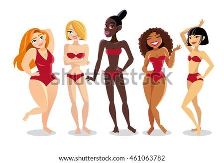 beautiful ladies in bikini of a