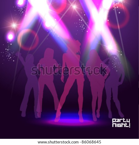 beautiful lady in the club with spotlight effect
