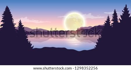 beautiful lake at night with