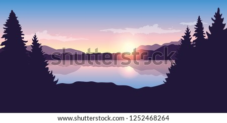 beautiful lake at sunrise