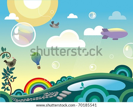 beautiful landscape - stock vector