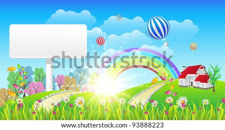 Beautiful Landscape and Rainbow Signboard - Vector Illustration