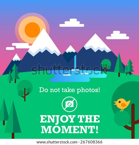 Beautiful landscape in a flat style: the mountains, the clouds, the sun at sunset, trees, waterfall. The bird sits on a branch. Also motivating text. Fully editable vector illustration.