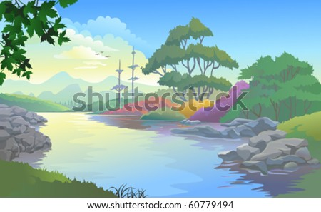 Beautiful landscape of a river flowing by hills and plains