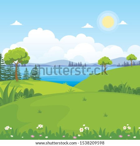 beautiful landscape vector with