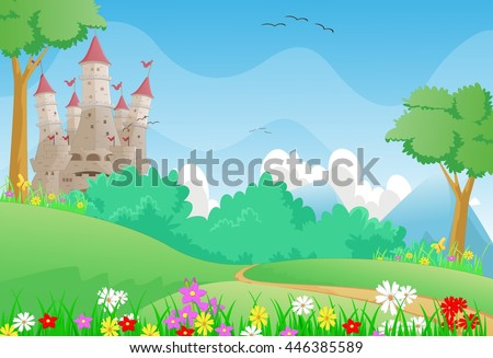 beautiful landscape with fairy