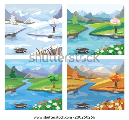 Beautiful landscape with river and mountains.