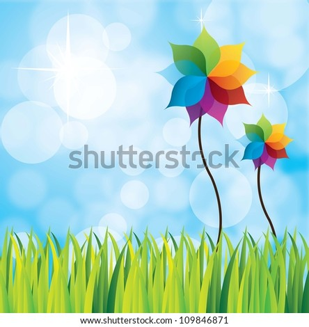 beautiful landscape with two large flowers vector illustration