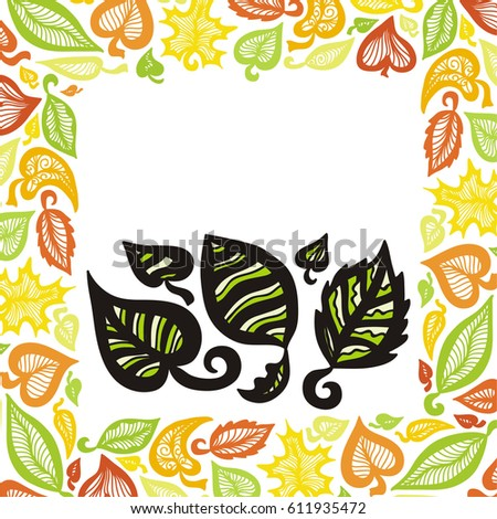 Beautiful leaves and nature frame. Vector illustration.