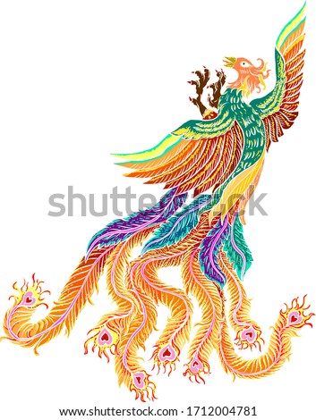 Beautiful line art of Phoenix for tattoo  design on background.Phoenix vector for printing on shirt.Pheonix vector illustration for doodle art and coloring book on white isolated background.Rebirth.