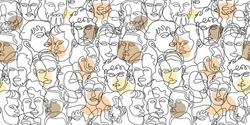 beautiful line art surreal abstract men face decorated in seamless pattern style. conceptual of people background