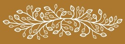 Beautiful linear floral vector design on dark, leaves and branches elegant text divider border element for layouts, fashion style classical emblem, luxury vintage graphics.