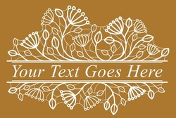 Beautiful linear floral vector design on dark, leaves and branches with berries elegant text divider border element for layouts, fashion style classical emblem, luxury vintage graphics.